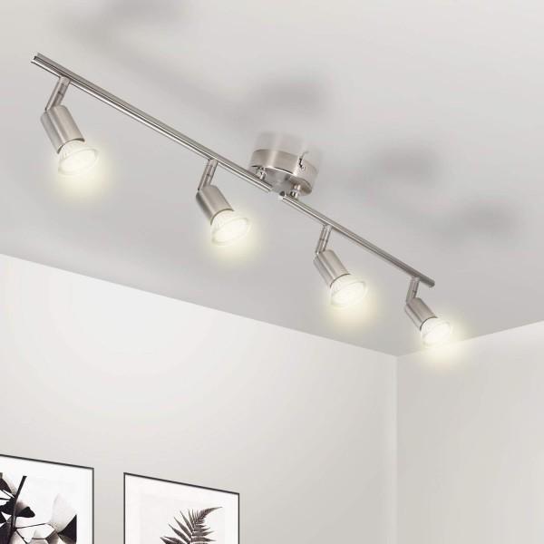 Deckenleuchte Küche 4 flammig Deckenstrahler LED Deckenleuchte Schwenkbar 4x 3W GU10 Spots Warmwei