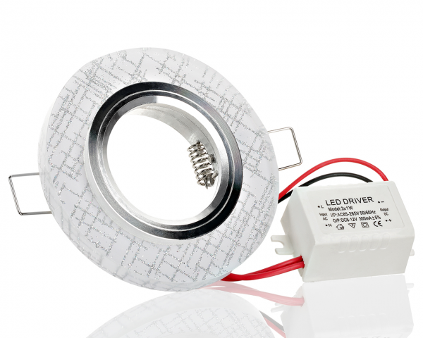 Einbaurahmen aus Kristallglas Rund inklusiv LED Ring Kaltweiß
