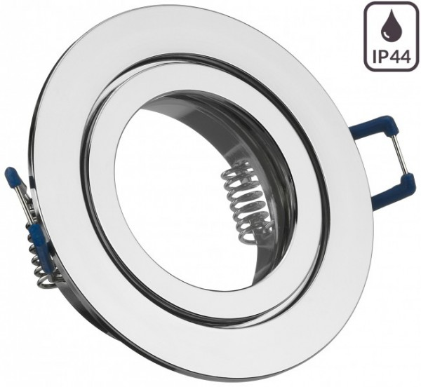 Einbaustrahler Alu Chrom Optik mit Klickverschluß Edel Feuchtraum Kaltweiß/Warmweiß 70 SMD