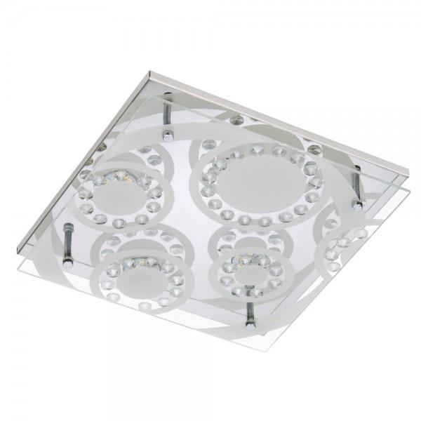 DECKENLEUCHTE LED CHROM 4X5W DECKENLAMPE IP20 BADLAMPE 3564-048 BRILONER LED-Luxus-Deckenleuchte/ Deckenlampe / Briloner Leuchten. LED-Strahler 4-flammig, Metall-Glas, Chrom. 4x5W fest eingebaute LED-Lampen, 4x400 Lm, warmweiß, IP20.