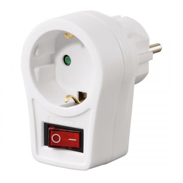 Adapterstecker mit Schalter (Schutzkontakt Zwischenstecker, bis 3500 Watt, Kinderschutz) weiß