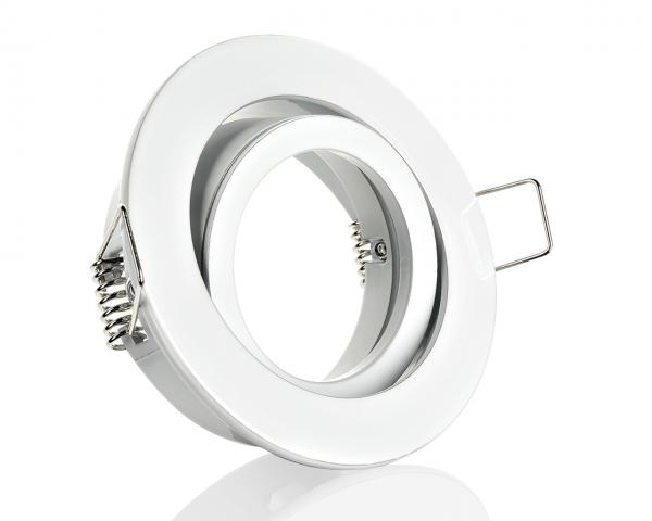 Einbaurahmen Weiß Rund Klickverschluss/Bajonett Flat LED