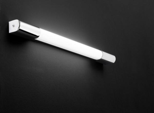 Moderne LED Wandleuchte ip44 in elegant glänzendem chrom Finish, gefertigt aus Metall und teilmattiertem Kunstoff.