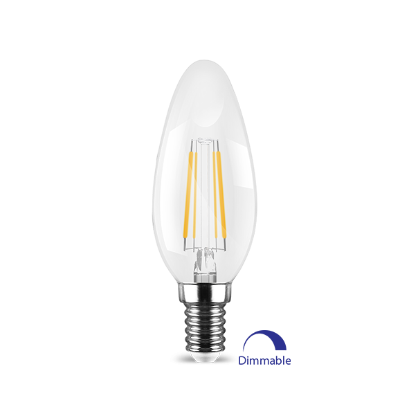 LED E14 Kerze Filament, 2700K Dimmbar 4W