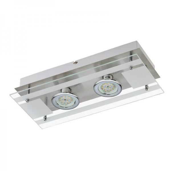 Deckenleuchte Briloner Purista LED Deckenlampe Glas Nickelmatt / Chrom