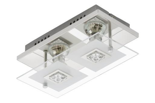 LED Deckenleuchte nickel chrom Spotbalken 2 Flammig Lampe Leuchte 3195-028
