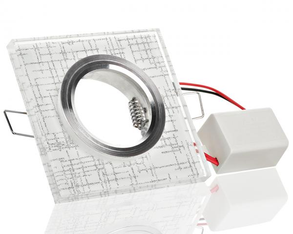 Kristalleinbaustrahler Viereck mit LED Ring Kaltweiß